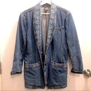 Vintage denim 1991 studded blazer size 8/10